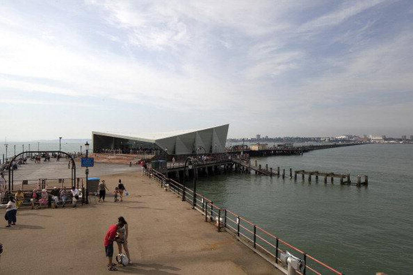 Showing the full length of the pier and Southend, Southend Pier Cultural Centre, Southend, United Kingdom, Architect: White Architects, 2012, Main exterior with people taken from the lifeboat station. (Photo by View Pictures/UIG via Getty Images)
