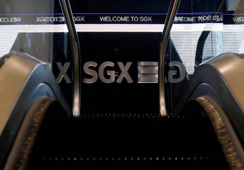 FILE PHOTO: An SGX sign is pictured at Singapore Stock Exchange July 19, 2017. REUTERS/Edgar Su/File Photo