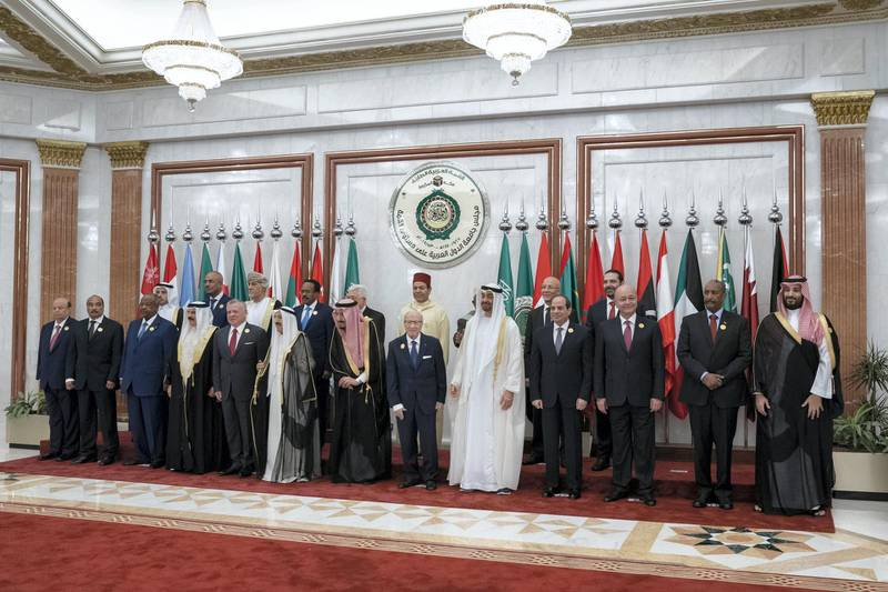 MECCA, SAUDI ARABIA - May 31, 2019: HH Sheikh Mohamed bin Zayed Al Nahyan, Crown Prince of Abu Dhabi and Deputy Supreme Commander of the UAE Armed Forces (), heads the UAE delegation to the Arab League emergency summit in Mecca.  ( Mohamed Al Hammadi / Ministry of Presidential Affairs ) ---