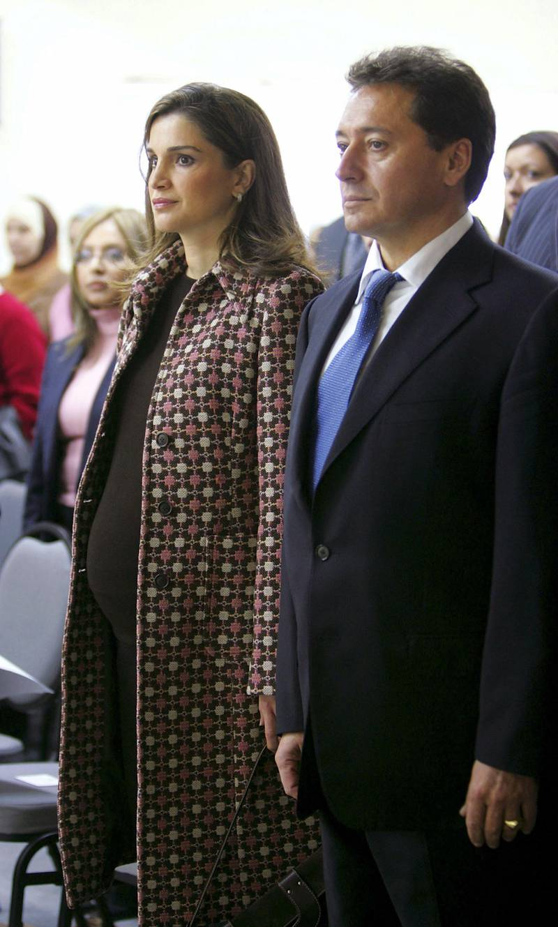 AMMAN, JORDAN - NOVEMBER 29:  A pregnant Queen Rania attends the opening of Jordan's Computer Clubhouse on November 29, 2004 in Amman, Jordan.  The clubhouse is an after-school program that will provide youths with access to high-tech equipment, professional software and volunteer mentors to help them develop self-confidence and enthusiasm for learning.  (Photo by Salah Malkawi/Getty Images)