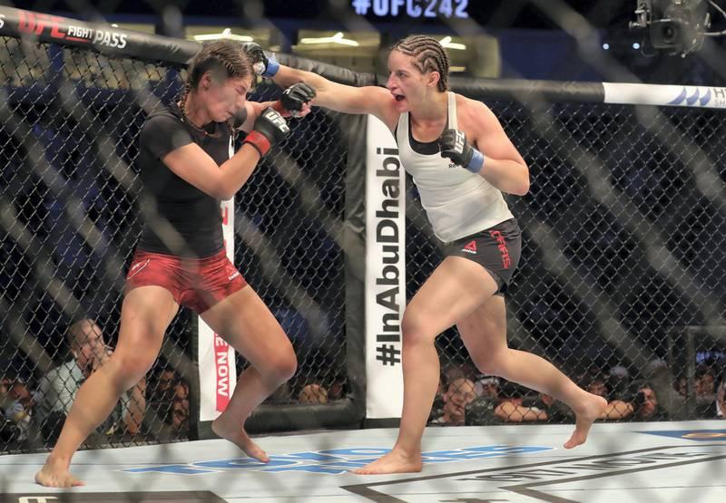Abu Dhabi, United Arab Emirates - September 07, 2019: Women's bantamweight bout between Sarah Moras (black shorts, winner) and Liana Jojua in the Prelims at UFC 242. Saturday the 7th of September 2019. Yas Island, Abu Dhabi. Chris Whiteoak / The National
