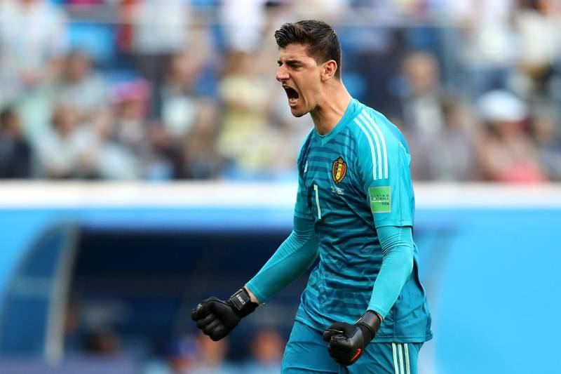 SAINT PETERSBURG, RUSSIA - JULY 14:  Thibaut Courtois of Belgium celebrates his team's second goal  during the 2018 FIFA World Cup Russia 3rd Place Playoff match between Belgium and England at Saint Petersburg Stadium on July 14, 2018 in Saint Petersburg, Russia.  (Photo by Catherine Ivill/Getty Images)