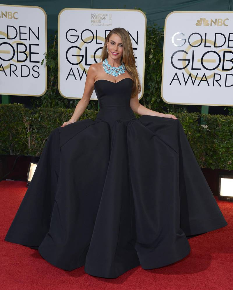 epa04017959 Colombian actress Sofia Vergara arrives for the 71st Annual Golden Globe Awards at the Beverly Hilton, in Beverly Hills, California, USA, 12 January 2014.  EPA/PAUL BUCK