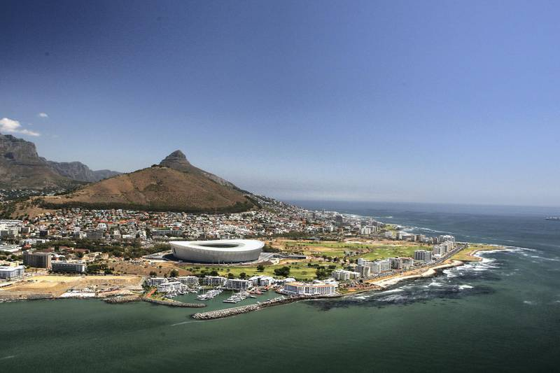 CAPE TOWN, WESTERN PROVINCE - JANUARY 26:  An aerial view of the Green Point Stadium which will host matches in the FIFA 2010 World Cup, on the January 26, 2010 in Cape Town, South Africa.  (Photo by David Rogers/Getty Images)