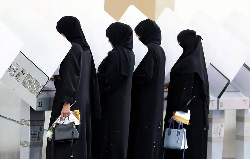 RAK,  UNITED ARAB EMIRATES , OCTOBER 5 – 2019 :- Residents casting their vote for the FNC elections held at the RAK Exhibition Center in Ras Al Khaimah. ( Pawan Singh / The National ) For News. Story by Ruba