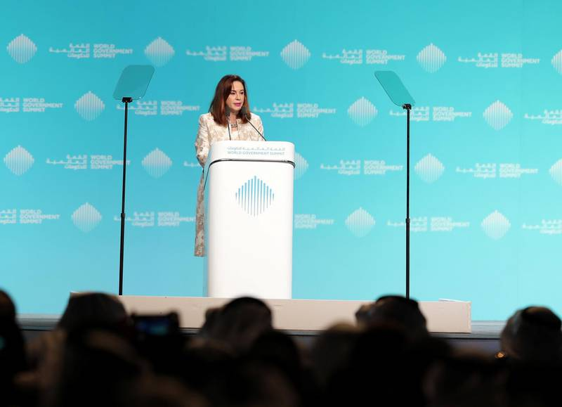 Dubai, United Arab Emirates - February 10, 2019: Maria Fernanda Espinoza Garcés, President of the General Assembly speaks during day 1 at the World Government Summit. Sunday the 10th of February 2019 at Madinat, Dubai. Chris Whiteoak / The National