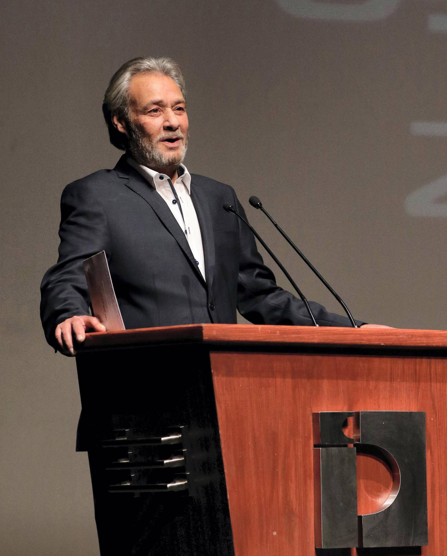 Mandatory Credit: Photo by Youssef Badawi/EPA/Shutterstock (8823553h) Farouk al-Fishawi Actors Day in Damascus, Syria - 17 May 2017 Egyptian actor Farouk al-Fishawi speaks after he was honored during an event held in Damascus, Syria, 17 May 2017, to mark the Actors Day. The event is sponsored by the Syrian Ministry of Culture and is attended by a number of Syrian and Arab actors.