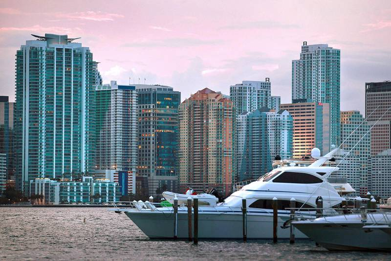 MIAMI - AUGUST 06: The City of Miami skyline is seen on August 6, 2010 in Miami, Florida. As thousands of newly built condominium units start to fill up with new owners and tenants downtown Miami is starting to see business and activity pick up in the area.   Joe Raedle/Getty Images/AFP