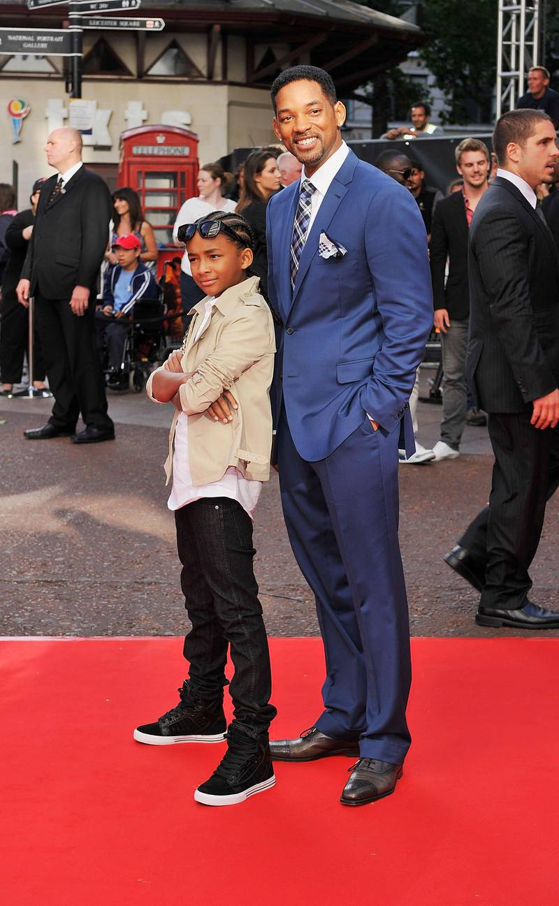 LONDON, ENGLAND - JULY 15:  Jaden Smith (L) and Will Smith attend the UK Film Premiere of The Karate Kid at Odeon Leicester Square on July 15, 2010 in London, England.  (Photo by Gareth Cattermole/Getty Images)