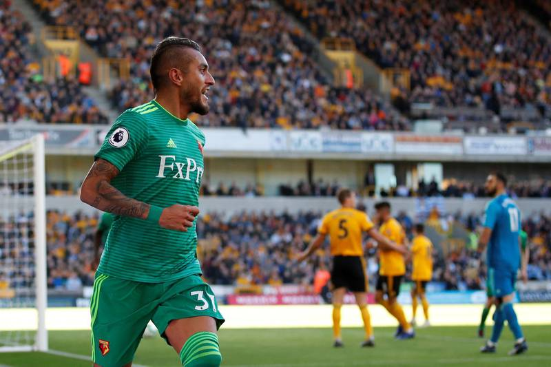 """Soccer Football - Premier League - Wolverhampton Wanderers v Watford - Molineux Stadium, Wolverhampton, Britain - October 20, 2018  Watford's Roberto Pereyra celebrates scoring their second goal   Action Images via Reuters/Andrew Boyers  EDITORIAL USE ONLY. No use with unauthorized audio, video, data, fixture lists, club/league logos or """"live"""" services. Online in-match use limited to 75 images, no video emulation. No use in betting, games or single club/league/player publications.  Please contact your account representative for further details."""