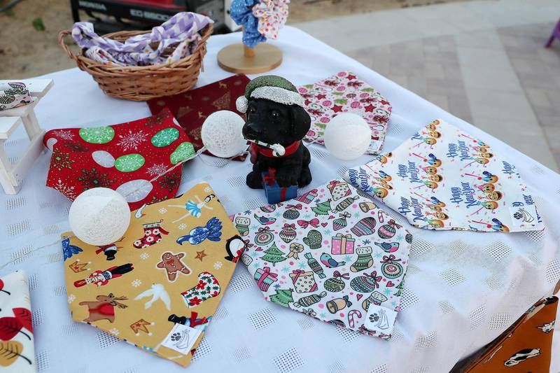 DUBAI, UNITED ARAB EMIRATES, December 10 – Items for dogs on display at one of the stall during the official opening of  DAMAC Akoya Central Bark (dog park) in DAMAC Akoya Oxygen in Dubai. (Pawan Singh / The National) For Lifestyle/Online/Instagram. Story by Hayley