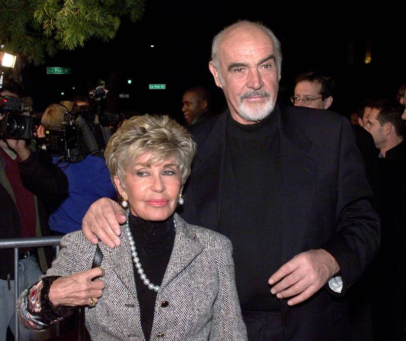 Sean Connery and his wife Micheline at the premiere of 'Finding Forrester' at the Academy of Motion Pictures Arts and Sciences in Los Angeles, Ca. 12/1/00. (Photo by Kevin Winter/Getty Images.)