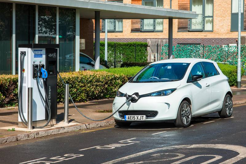 Electric car plugged into Evolt charge point in Cambridge, England, UK. (Photo by: Andrew Michael/Education Images/Universal Images Group via Getty Images)