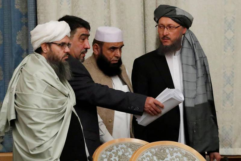 FILE PHOTO: Members of Taliban delegation take their seats during the multilateral peace talks on Afghanistan in Moscow, Russia November 9, 2018. REUTERS/Sergei Karpukhin/File Photo