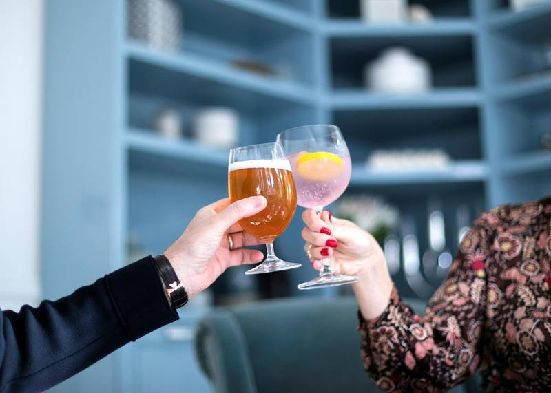 DUBAI, UNITED ARAB EMIRATES. 13 JANUARY 2021. Non-alcoholic beer and spirits from Drink Dry. (Photo: Reem Mohammed/The National)Reporter:Section: