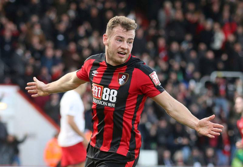 Bournemouth's Ryan Fraser celebrates scoring his side's first goal of the game, during the English Premier League soccer match between Bournemouth and Southampton, at the Vitality Stadium, in Bournemouth, England, Sunday Dec. 3, 2017. (Adam Davy/PA via AP)