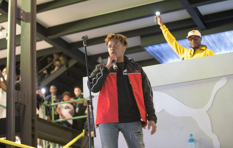 Dubai, United Arab Emirates-  Singer YBN Cordae performing at Puma stage at the Sole Dubai Festival at D3.  Leslie Pableo for The National for Saeed Saeed's story