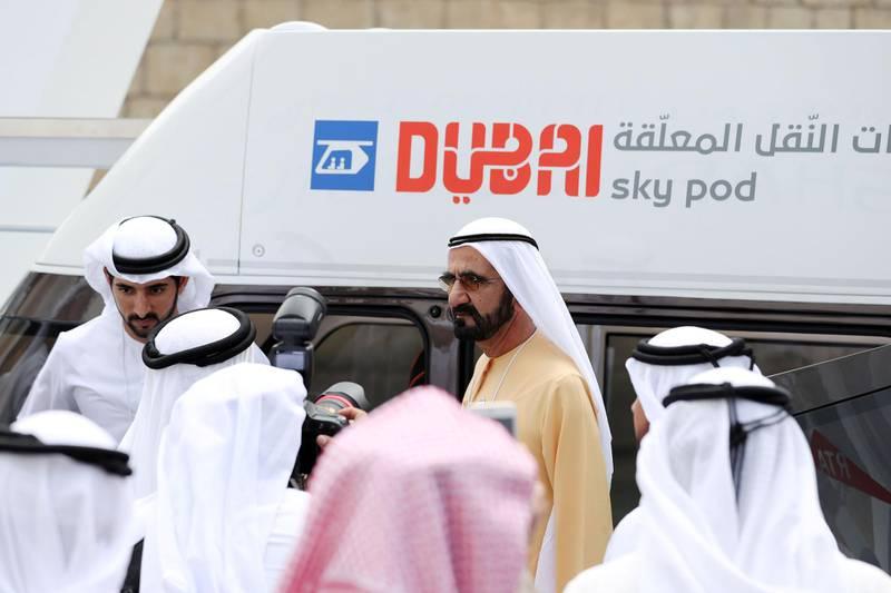 Dubai, United Arab Emirates - February 11, 2019: Sheikh Mohammed bin Rashid Al Maktoum gets out of the Sky pod on day 2 at the World Government Summit. Monday the 11th of February 2019 at Madinat, Dubai. Chris Whiteoak / The National