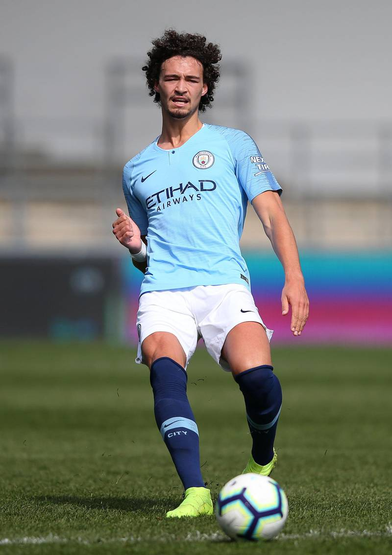 MANCHESTER, ENGLAND - APRIL 07: Philippe Sandler of Manchester City passes the ball during the Premier League 2 match between Manchester City and Everton at The Academy Stadium on April 07, 2019 in Manchester, England. (Photo by Alex Livesey/Getty Images)