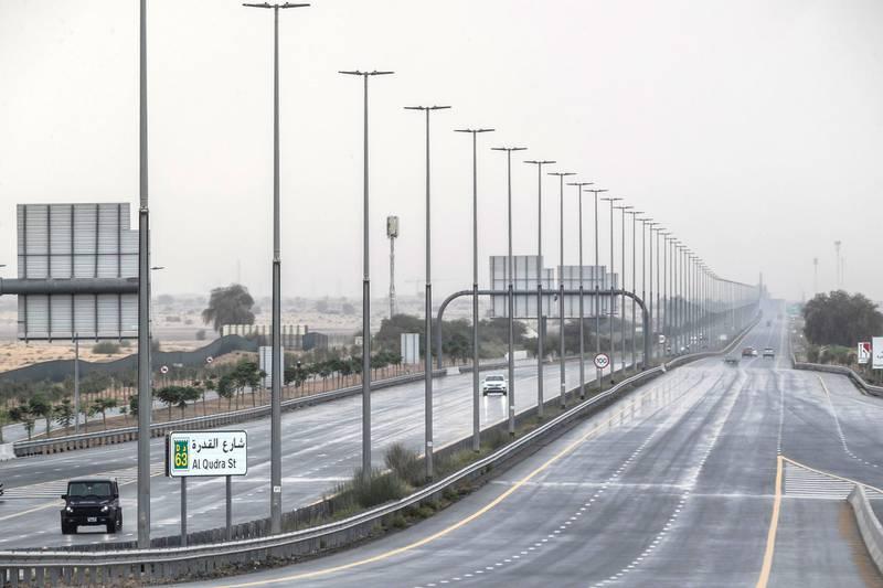 Rain along the Al Qudra area of Dubai on April 29 th, 2021. Antonie Robertson / The National.Reporter: None for National.
