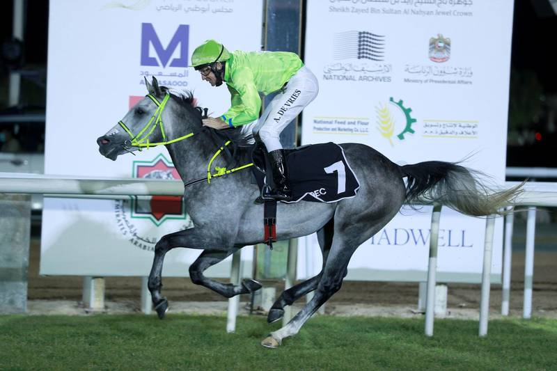 Abu Dhabi, United Arab Emirates, December 13, 2020.  4th Race Meeting Season 2020-2021.Andrie De Vries steers Hameem  to win the fourth race at the Abu Dhabi Equestrian Club.Victor Besa/The NationalSection:  SPReporter:  Amith Passela