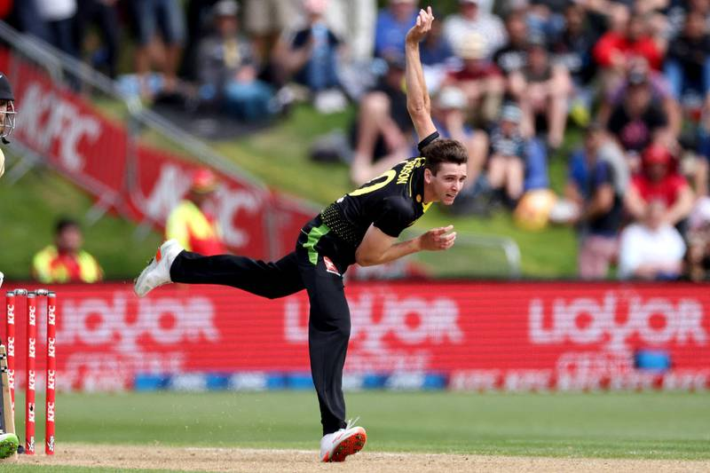 Australia's Jhye Richardson bowls during the 2nd cricket T20 match between New Zealand and Australia at University Oval in Dunedin on February 25, 2021. (Photo by Marty MELVILLE / AFP)