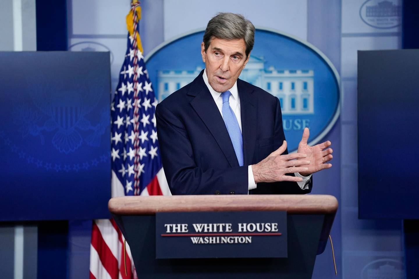 FILE - In this Jan. 27, 2021, file photo, Special Presidential Envoy for Climate John Kerry speaks during a press briefing at the White House in Washington. The world's hopes for curbing climate change hinge on action by two giant nations whose relations are deteriorating. China and the United States both say they are intent on retooling their economies to burn less climate-wrecking coal, oil and gas. But tensions between them threaten their ultimate success (AP Photo/Evan Vucci, File)