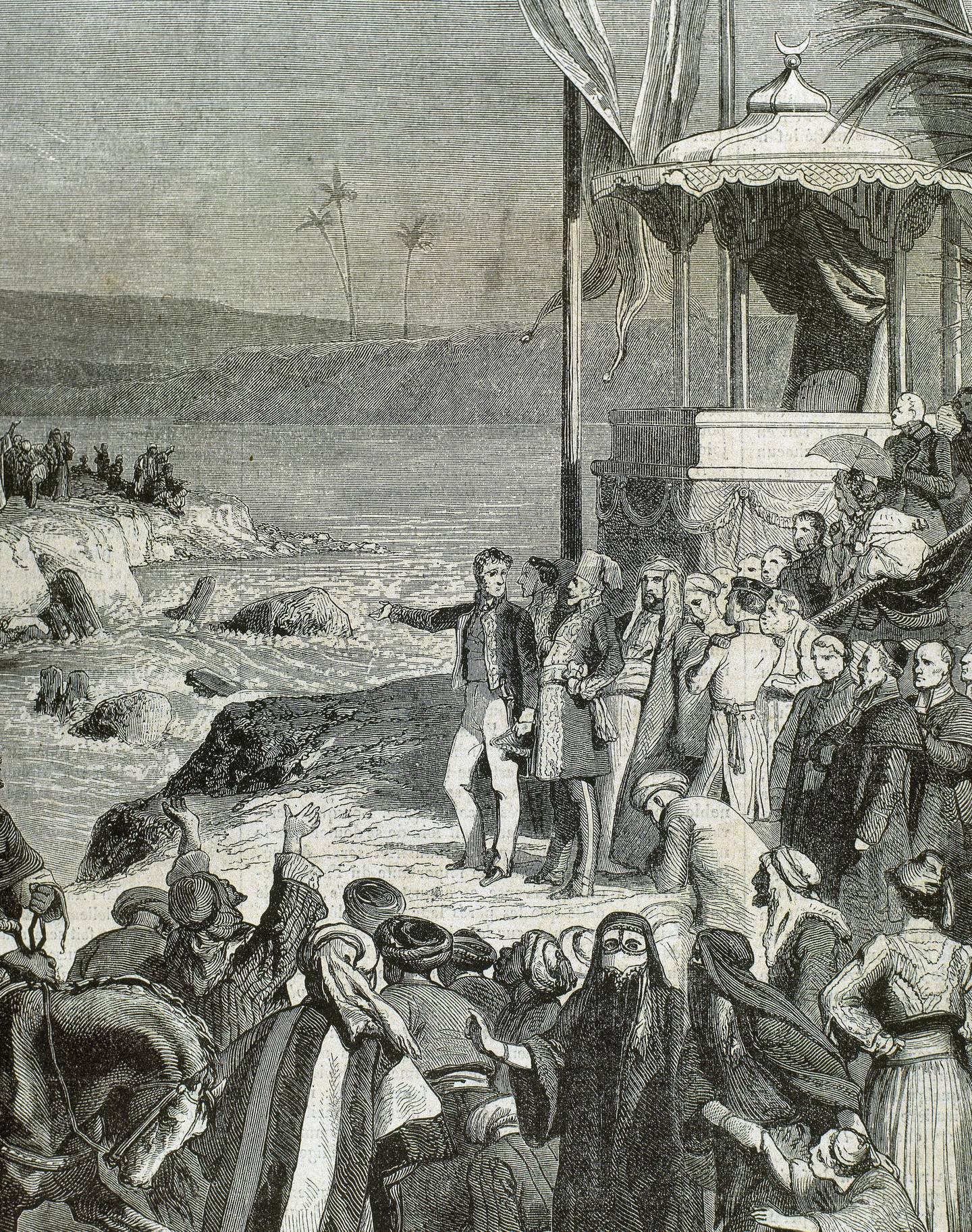 Egypt. The Suez Canal. It connects the Mediterranean Sea to the Red Sea through the Isthmus of Suez. Inauguration ceremony of the Suez Canal at Port-Said on November 17, 1869 under Isma'il Pasha (1830-1895). Engraving by Desandre. (Photo by: PHAS/Universal Images Group via Getty Images)