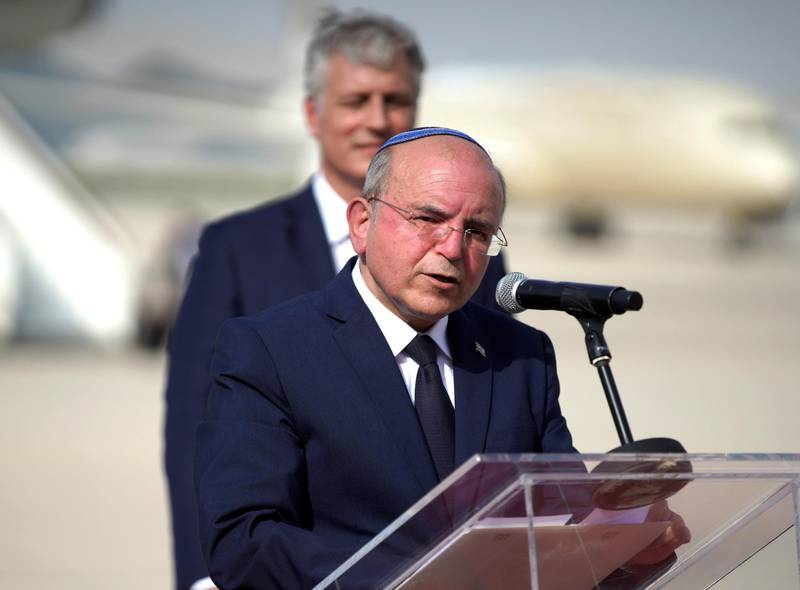 Abu Dhabi, United Arab Emirates, August 31, 2020.  Israeli delegation led by National Security Advisor Meir Ben-Shabbat, centre, and US National Security Advisor Robert O'Brien, on the tarmac after disembarking from  the El Al flight in Abu Dhabi.Victor Besa /The NationalSection:  NAReporter:  Khaled Owais