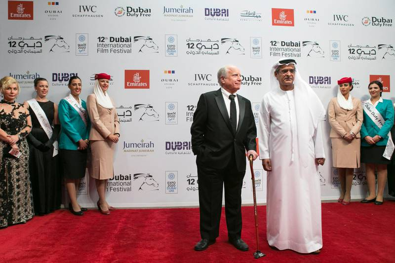 DUBAI, UNITED ARAB EMIRATES, 9 DEC 2015. Actor Richard Dreyfuss and DIFF Chairman Abdulhamid Juma attend the Opening Night Gala of 'Room' during day one of the 12th annual Dubai International Film Festival held at the Madinat Jumeriah, Photo: Reem Mohammed/ The National (Reporter: Jessica Hill / Section: NA) ID: 57313 *** Local Caption ***  RM_20151209_DIFF_029.JPG