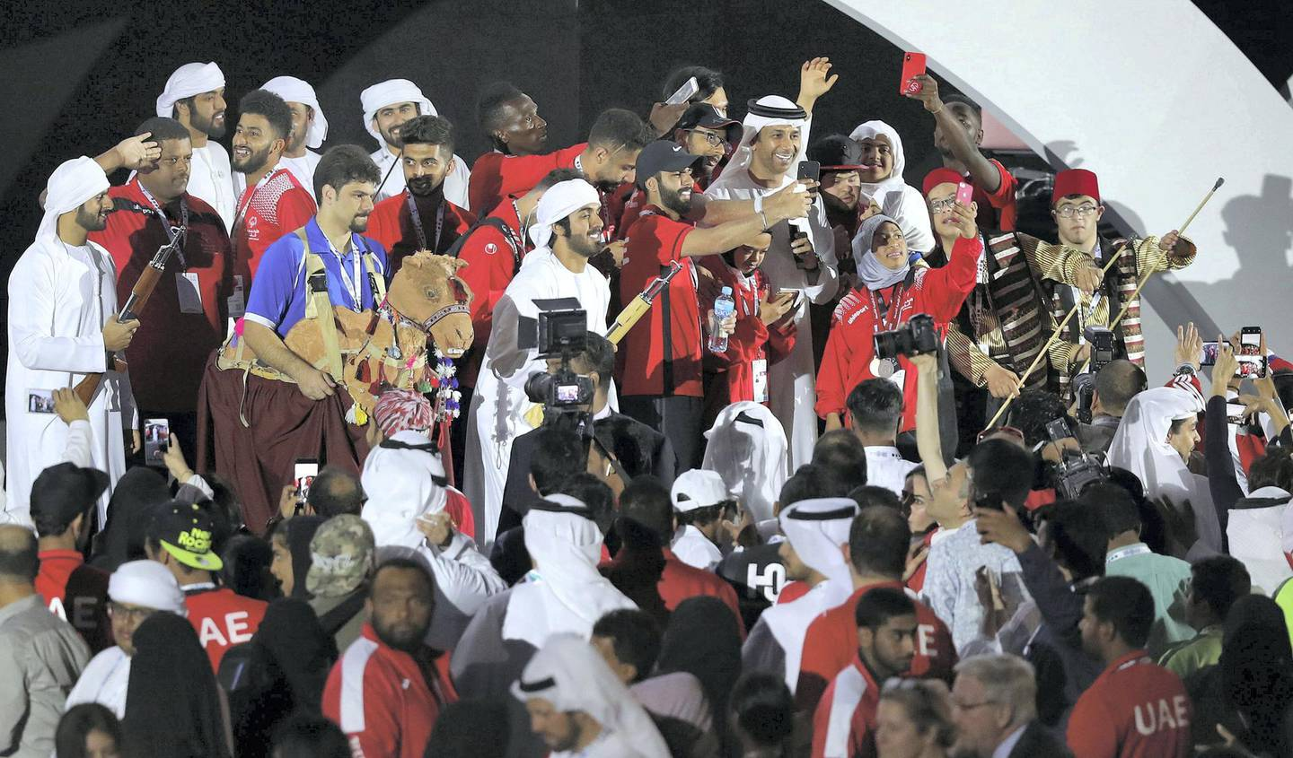Abu Dhabi, United Arab Emirates - March 22nd, 2018: The UAE team celebrate at the concert at the Closing Ceremony of the Special Olympics Regional Games. Thursday, March 22nd, 2018. ADNEC, Abu Dhabi. Chris Whiteoak / The National