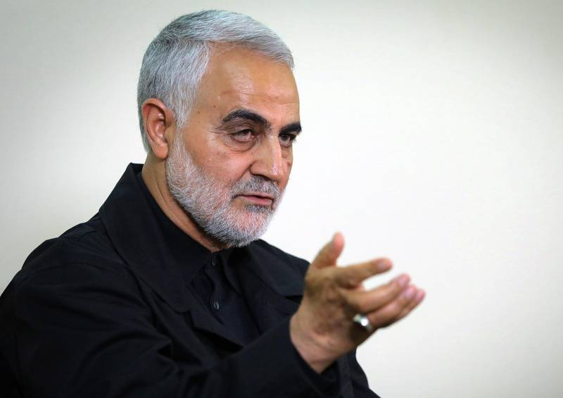 """(FILES) A file handout picture released by the office of Iran's Supreme Leader Ayatollah Ali Khamenei on October 1, 2019, shows Qasem Soleimani, Iranian Revolutionary Guards Corps (IRGC) Major General and commander of the Quds Force, speaking during an interview with members of the Iranian leader's bureau in Tehran. A US strike killed top Iranian commander Qasem Soleimani and the deputy head of Iraq's Hashed al-Shaabi military force at Baghdad's airport early on January 3, 2019, the Hashed announced.  - === RESTRICTED TO EDITORIAL USE - MANDATORY CREDIT """"AFP PHOTO / KHAMENEI.IR"""" - NO MARKETING NO ADVERTISING CAMPAIGNS - DISTRIBUTED AS A SERVICE TO CLIENTS ===  / AFP / KHAMENEI.IR / Handout / === RESTRICTED TO EDITORIAL USE - MANDATORY CREDIT """"AFP PHOTO / KHAMENEI.IR"""" - NO MARKETING NO ADVERTISING CAMPAIGNS - DISTRIBUTED AS A SERVICE TO CLIENTS ==="""