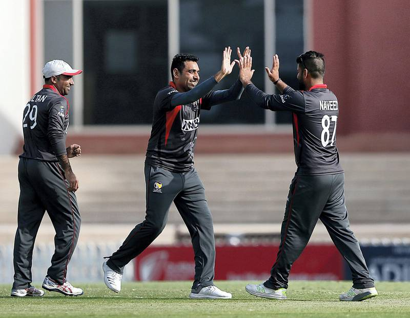 Dubai, March, 16, 2019:  UAE team players celebrates the dismissal during their match against USA in the T20 match at the ICC Academy in Dubai. Satish Kumar/ For the National / Story by Paul Radley