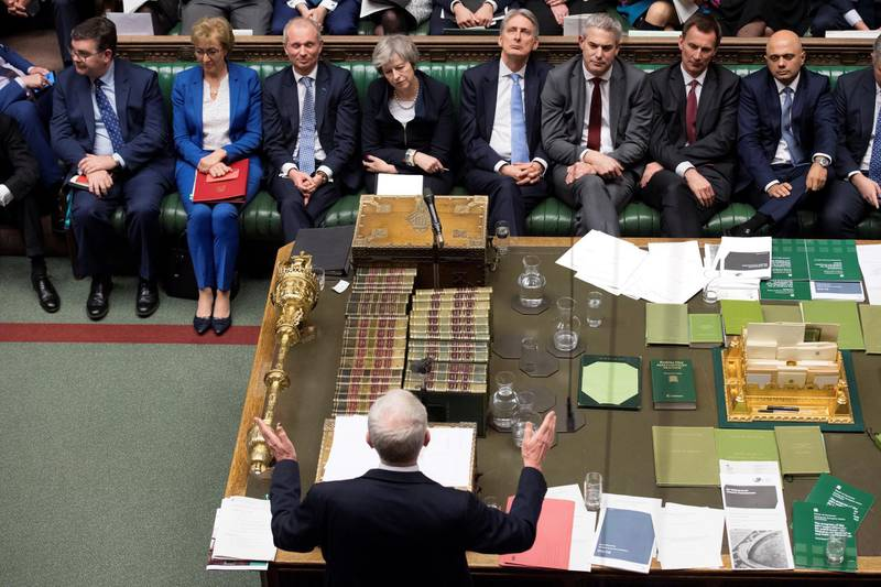"""A handout photograph released by the UK Parliament shows Britain's main opposition Labour Party leader Jeremy Corbyn (C bottom) giving his response and informing the House that he has tabled a motion of no confidence in the Government in the House of Commons in London on January 15, 2019, after MPs rejected the government's Brexit deal as Britain's Prime Minister Theresa May (C top) listens. - Britain's parliament on Tuesday resoundingly rejected Prime Minister Theresa May's Brexit deal, triggering a no-confidence vote in her government and leaving the country on track to crash out of the EU. (Photo by Jessica TAYLOR / UK PARLIAMENT / AFP) / RESTRICTED TO EDITORIAL USE - NO USE FOR ENTERTAINMENT, SATIRICAL, ADVERTISING PURPOSES - MANDATORY CREDIT """" AFP PHOTO / Jessica Taylor / UK Parliament"""""""