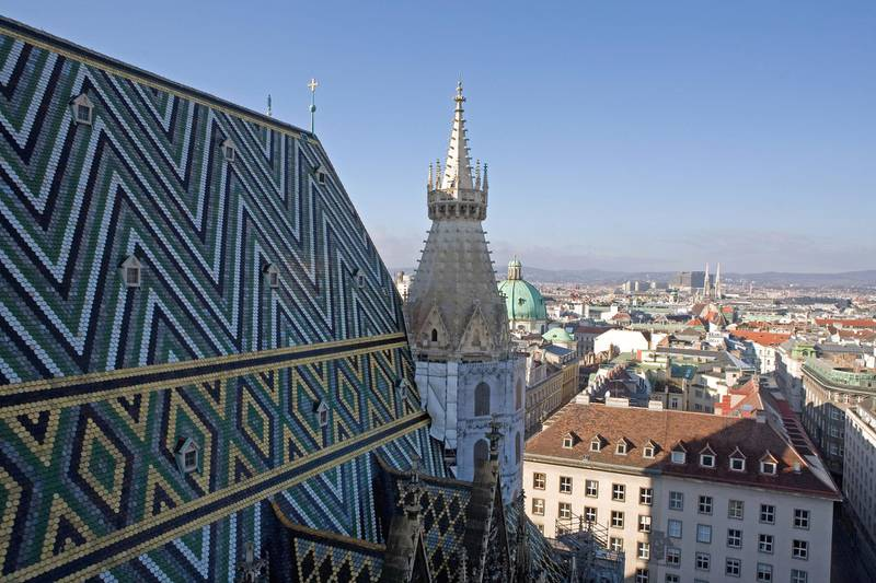 VIENNA, AUSTRIA - NOVEMBER 30:  The view overlooking Vienna from the bell tower of Stephansdom (St Stephen's Cathedral) in Stephansplatz in Vienna, Austria.  (Photo by Scott Barbour/Getty Images)