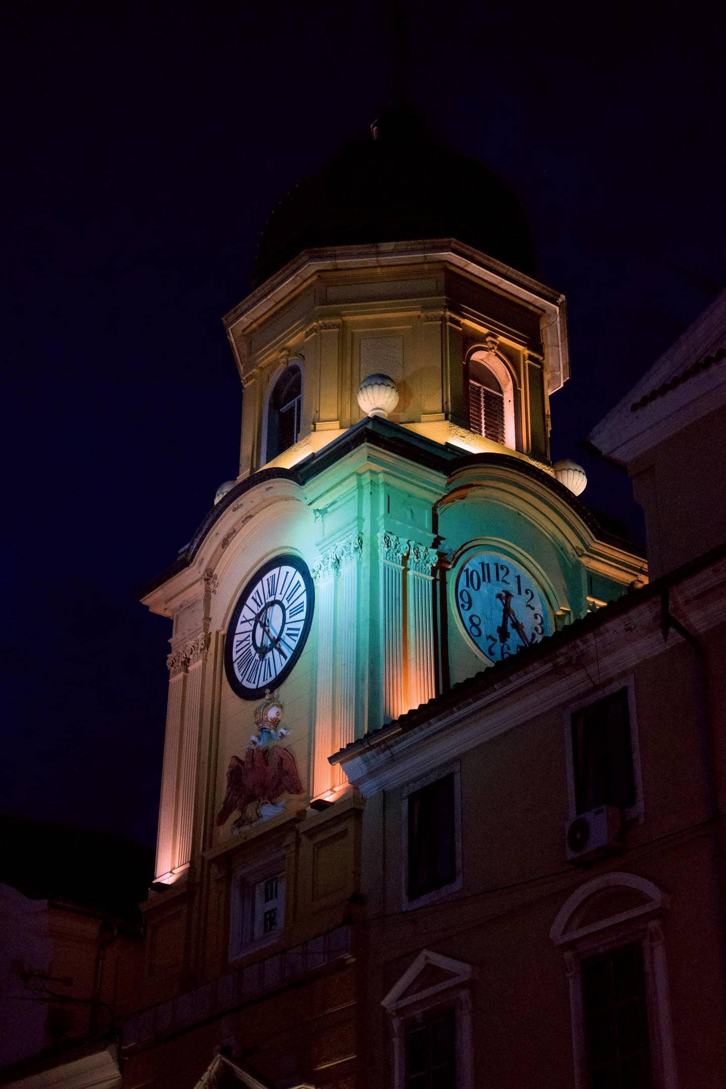 "Beautiful City tower of Rijeka (Croatia) at night in the middle of ""Korzo"", the main street of Rijeka. Getty Images"