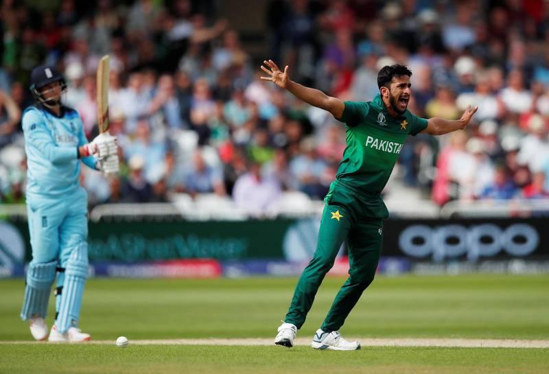 Cricket - ICC Cricket World Cup - England v Pakistan - Trent Bridge, Nottingham, Britain - June 3, 2019   Pakistan's Hasan Ali appeals for LBW against England's Joe Root   Action Images via Reuters/Andrew Boyers