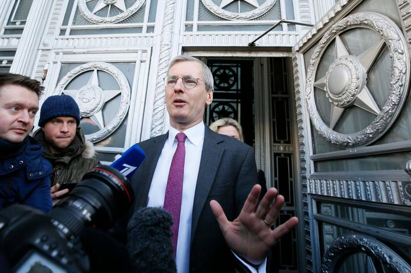 British Ambassador to Russia Laurie Bristow addresses the media while leaving the Russian Foreign Ministry in Moscow, Russia March 17, 2018. REUTERS/Gleb Garanich