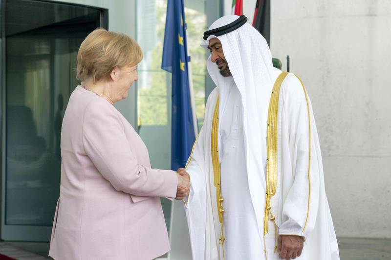 BERLIN, GERMANY - June 12, 2019: HH Sheikh Mohamed bin Zayed Al Nahyan, Crown Prince of Abu Dhabi and Deputy Supreme Commander of the UAE Armed Forces (R), is received by HE Angela Merkel, Chancellor of Germany (L), at the Chancellor's Office in Berlin, Germany.  ( Mohamed Al Hammadi / Ministry of Presidential Affairs ) ---