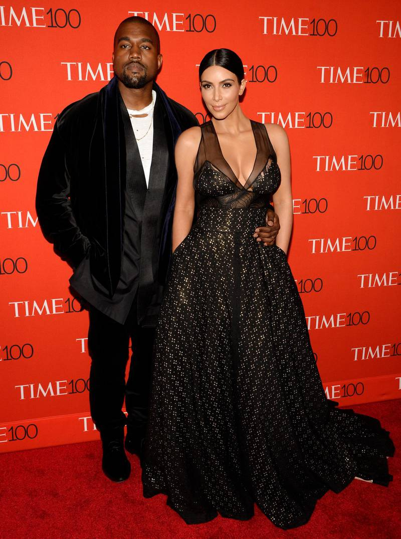 epa05998623 (FILE) US musician Kanye West (L) and his wife Kim Kardashian (R) arriving for the Time 100 Gala at Frederick P. Rose Hall in New York, New York, USA, 21 April 2015 (reissued 30 May 2017). Kanye West will celebrate his 40th birthday on 08 June 2017.  EPA/JUSTIN LANE
