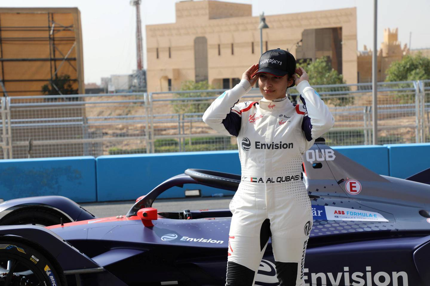 Emirati racing driver Amna Al Qubaisi on Sunday became the first woman to take part in a Formula E test when she drove for the Envision Virgin Racing team in Riyadh. Karma Gurung / The National