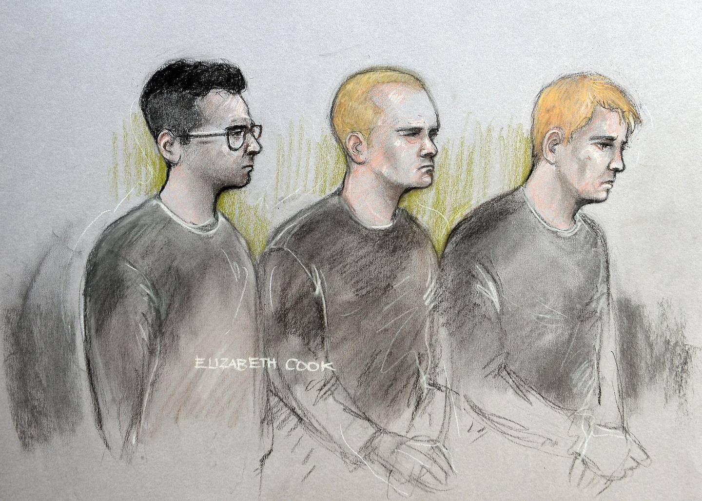 K6DMW1 Court artist sketch by Elizabeth Cook of (from the left) Alexander Deakin, 22, Mikko Vehvilainen, 32, and Mark Barrett, 24, appearing at Westminster Magistrates' Court in London where they have been charged with terrorism offences as part of an investigation into banned neo-Nazi group National Action.