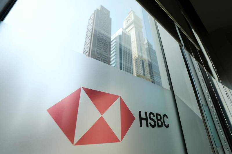 Dubai, United Arab Emirates - August 07, 2019: Stock. A HSBC bank sign in the DIFC. Wednesday the 7th of August 2019. DIFC, Dubai. Chris Whiteoak / The National
