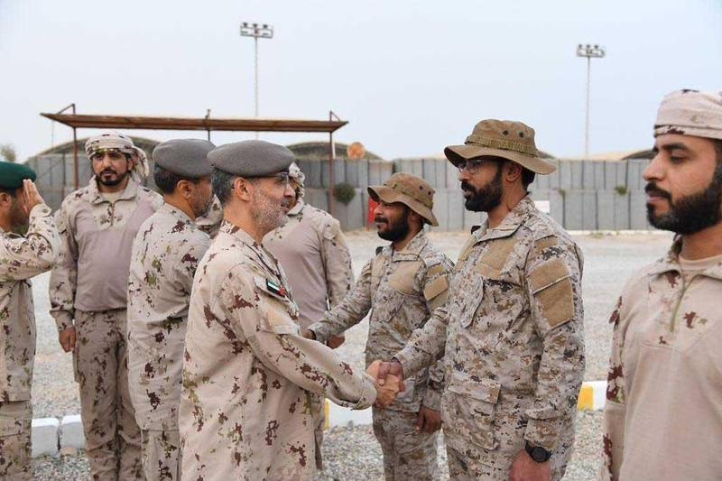 Several senior UAE Armed Forces officers congratulated officers and recruits of the UAE Armed Forces units operating in Yemen and Saudi Arabia on the occasion of Eid Al Adha, while in the presence of officers from the Saudi Armed Forces.Officers congratulated the Emirati military personnel while visiting several army units stationed in Najran and Taif, Saudi Arabia, which are part of the Saudi-led Arab Coalition Forces operating in Mukalla and Khawkhah, Yemen. Wam