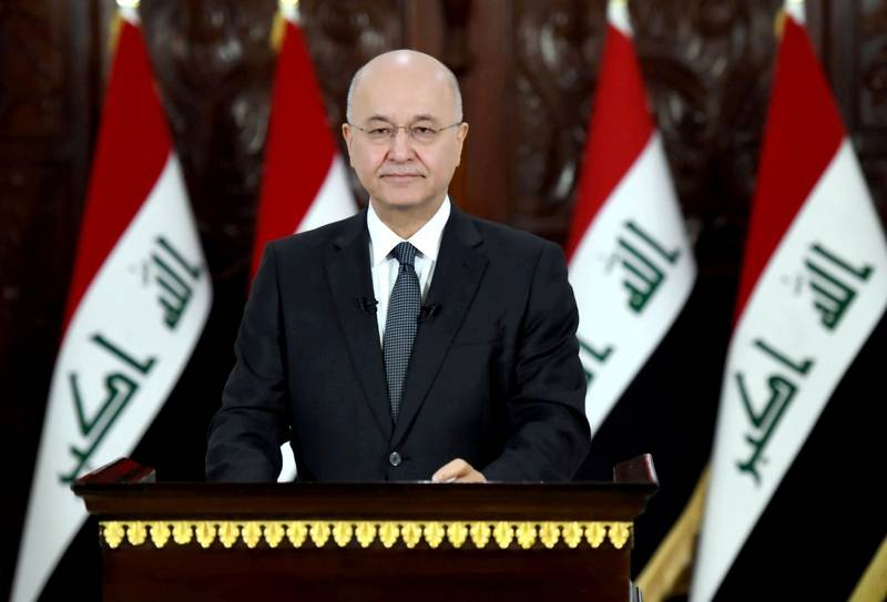 Iraq's President Barham Salih delivers a televised speech to people in Baghdad, Iraq October 31, 2019. The Presidency of the Republic of Iraq Office/Handout via REUTERS ATTENTION EDITORS - THIS IMAGE WAS PROVIDED BY A THIRD PARTY.