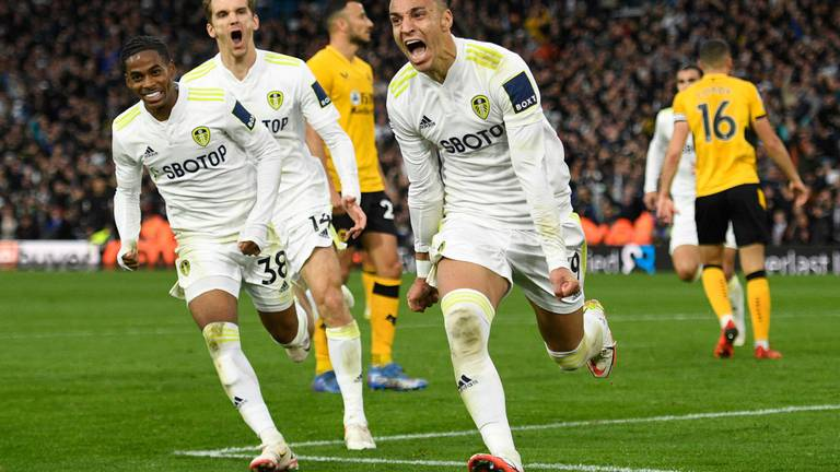 An image that illustrates this article Rodrigo delivers when it matters most as Leeds claim valuable point against Wolves
