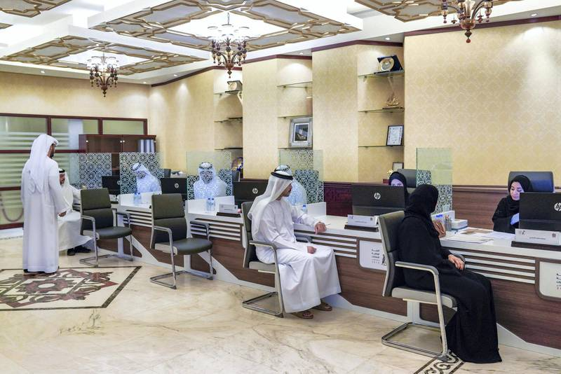 Abu Dhabi, United Arab Emirates, August 18, 2019.  Emiratis registering themselves for FNC elections at the Abu Dhabi Chamber of Commerce & Industry Building.  --  The first batch of Emirati registrants at the centre.Victor Besa/The NationalSection:  NAReporter:  Haneen Dajani