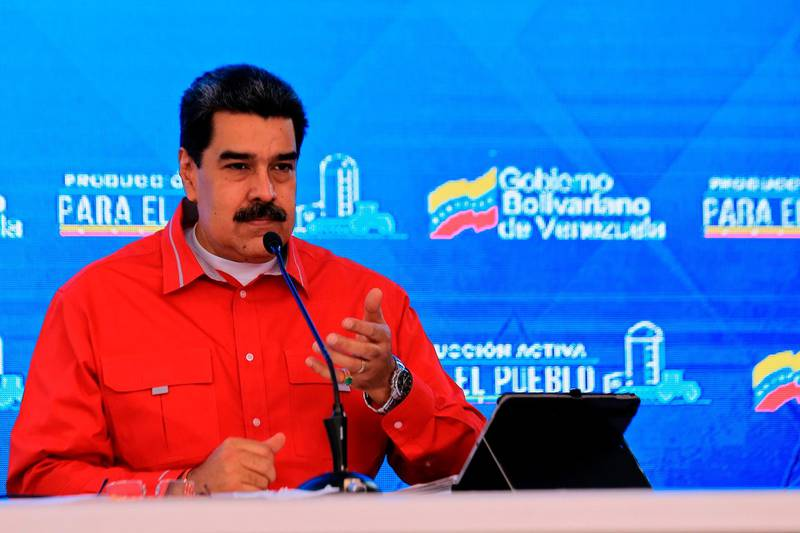 Handout picture released by the Venezuelan Presidency showing Venezuela's President Nicolas Maduro speaking during a televised message, at Miraflores Presidential Palace in Caracas on May 27, 2020, amid the novel coronavirus pandemic. Maduro said Wednesday there will be a raise in the price of gasoline -almost free in Venezuela- after the arrival of Inanian ships with oil amid a severe shortage. t  - RESTRICTED TO EDITORIAL USE - MANDATORY CREDIT AFP PHOTO / VENEZUELAN PRESIDENCY / JHONN ZERPA - NO MARKETING NO ADVERTISING CAMPAIGNS - DISTRIBUTED AS A SERVICE TO CLIENTS  / AFP / Venezuelan Presidency / JHONN ZERPA / RESTRICTED TO EDITORIAL USE - MANDATORY CREDIT AFP PHOTO / VENEZUELAN PRESIDENCY / JHONN ZERPA - NO MARKETING NO ADVERTISING CAMPAIGNS - DISTRIBUTED AS A SERVICE TO CLIENTS
