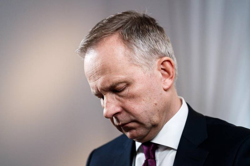 """Ilmars Rimsevics, governor of the Bank of Latvia, pauses during a Bloomberg Television interview in Riga, Latvia, on Thursday, Feb. 22, 2018. Rimsevicssaid he's never been offered a bribe but there's been a """"hint"""" of one and that he regrets not reporting it. Photographer: Roni Rekomaa/Bloomberg"""
