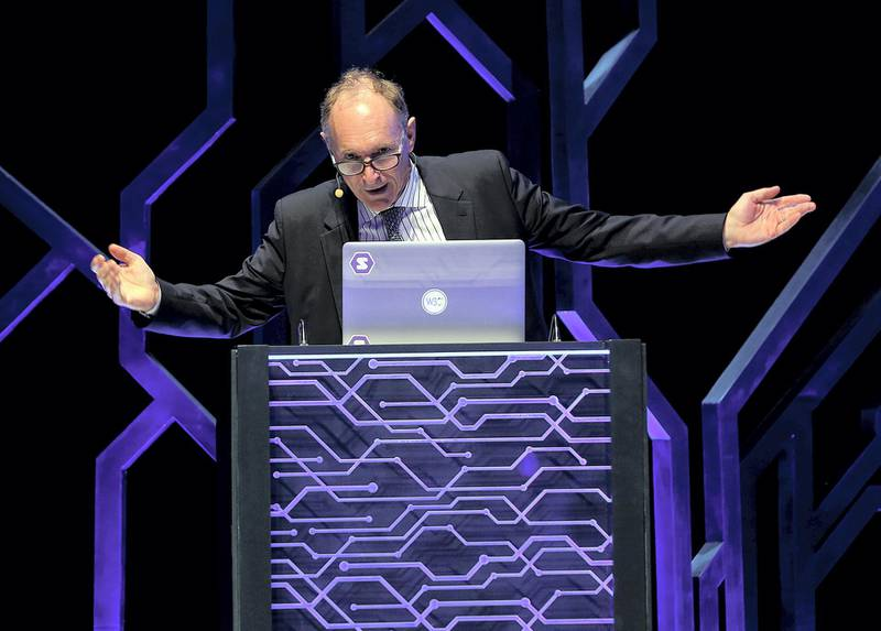 Sharjah, March 28, 2018: Timothy John Berners-Lee, Creator, World Wide Web gestures during his speech on 'Future of Open Data' at the International  Government Communication Forum 2018  at the Expo Centre in Sharjah. Satish Kumar for the National/ Story by Nick Webster